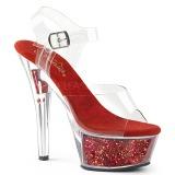 Rojo 15 cm KISS-208GF brillo plataforma sandalias de tacón alto