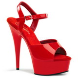 Rojo 15 cm Pleaser DELIGHT-609 High heels zapatos con plataforma