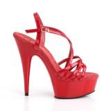 Rojo 15 cm Pleaser DELIGHT-613 Sandalias de tacón