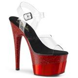 Rojo 18 cm ADORE-708-2HGM Zapatos plataforma con tacones glitter