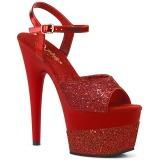 Rojo 18 cm ADORE-709-2G brillo plataforma sandalias de tacón alto