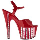 Rojo 18 cm ADORE-709VLRS plataforma zapatos de tacón con piedras
