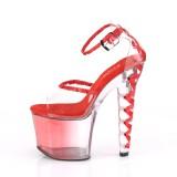 Rojo 18 cm LOVESICK-712T sandalias pleaser con tacones corse