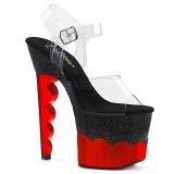 Rojo 18 cm SCALLOP-708-2HGM Holograma plataforma sandalias de tacón alto