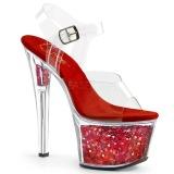 Rojo 18 cm SKY-308GF brillo plataforma sandalias de tacón alto