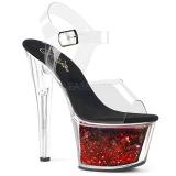 Rojo 18 cm SKY-308WHG brillo plataforma sandalias de tacón alto