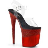 Rojo 20 cm FLAMINGO-808-2HGM brillo plataforma sandalias de tacón alto