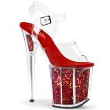Rojo 20 cm FLAMINGO-808GF brillo plataforma sandalias de tacón alto