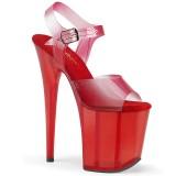 Rojo 20 cm FLAMINGO-808N-T sandalias pleaser con plataforma