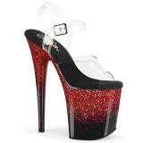Rojo 20 cm FLAMINGO-808SS brillo plataforma sandalias de tacón alto