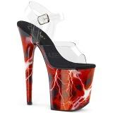 Rojo 20 cm FLAMINGO-808STORM Holograma plataforma sandalias de tacón alto