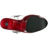 Rojo 20 cm FLAMINGO-808T Acrilico Plataforma Sandalias Tacón Mujer