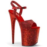 Rojo 20 cm FLAMINGO-810LG brillo plataforma sandalias de tacón alto