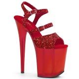 Rojo 20 cm FLAMINGO-874 brillo plataforma sandalias de tacón alto