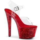 Rojo 20 cm SKY-308LG brillo plataforma sandalias de tacón alto