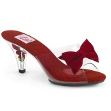 Rojo 7,5 cm BELLE-301BOW Pantuflas de tacón con corbata de moño