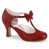 Rojo 7,5 cm retro vintage FLAPPER-11 Pinup zapatos de salón tacón bajo
