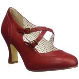 Rojo 7,5 cm retro vintage FLAPPER-35 Pinup zapatos de salón tacón bajo