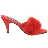 Rojo 8 cm AMOUR-03 Tacón plumas de marabu Mules Calzado