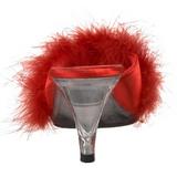 Rojo 8 cm BELLE-301F Tacón plumas de marabu Mules Calzado
