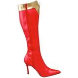 Rojo 9,5 cm WONDER-130 Botas de tacón de mujer