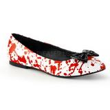 Rojo Blanco VAIL-20BL góticos zapatos de bailarina planos tacón