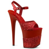 Rojo Brillo 20 cm Pleaser FLAMINGO-809-2G Tacones Altos Plataforma