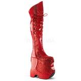 Rojo Brillo 22 cm FABULOUS-3035 Botas Altas para Drag Queen