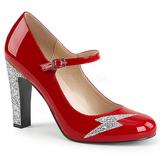 Rojo Charol 10 cm QUEEN-02 zapatos de salón tallas grandes