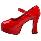 Rojo Charol 11 cm MARYJANE-50 Mary Jane Plataforma Zapatos de Salón