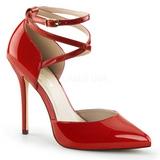 Rojo Charol 13 cm AMUSE-25 Zapato Salón de Noche con Tacón