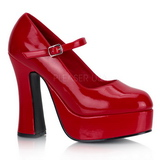 Rojo Charol 13 cm DOLLY-50 Mary Jane Plataforma Zapatos de Salón