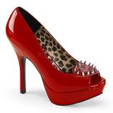 Rojo Charol 13 cm PIXIE-17 Zapatos tacón altos con remaches