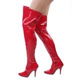 Rojo Charol 13 cm SEDUCE-3000 Largas Botas Altas para Hombres