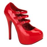 Rojo Charol 14,5 cm Burlesque TEEZE-05 Zapatos de tacón altos mujer