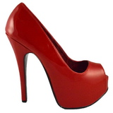 Rojo Charol 14,5 cm Burlesque TEEZE-22 Stiletto Zapatos Tacón de Aguja