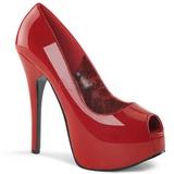 Rojo Charol 14,5 cm TEEZE-22 Stiletto Zapatos Tacón de Aguja