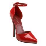 Rojo Charol 15 cm DOMINA-402 zapatos de salón tacón bajo