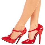 Rojo Charol 15 cm DOMINA-415 Calzado de Salón Planos Tacón