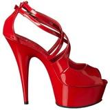 Rojo Charol 15 cm Pleaser DELIGHT-612 Plataforma Zapatos de Salón