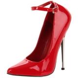 Rojo Charol 16 cm DAGGER-12 Stiletto Zapatos Tacón de Aguja