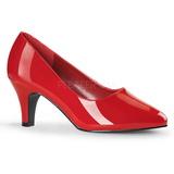 Rojo Charol 8 cm DIVINE-420W zapatos de salón tacón bajo