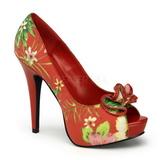 Rojo Flores 13 cm LOLITA-11 Zapatos de tacón altos mujer
