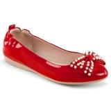 Rojo IVY-09 bailarinas zapatos planos de mujer con perlas