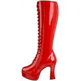 Rojo Lacado 10,5 cm EXOTICA-2020 Botas de Cordones Mujer