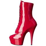 Rojo Lacado 15,5 cm DELIGHT-1020 Plataforma botines altos mujer