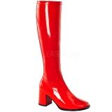 Rojo Lacado 7,5 cm Funtasma GOGO-300 Botas Media Mujer