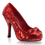 Rojo Lentejuelas 11,5 cm OZ-06 Zapato Salón para Fiesta con Tacon