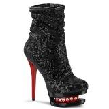 Rojo Negro Lentejuelas 15,5 cm BLONDIE-R-1009 botines pleaser con plataforma