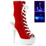 Rojo Neon 15 cm DELIGHT-1016SK Zapatos de lona con tacón